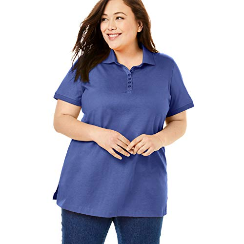 Woman Within Women's Plus Size Perfect Short-Sleeve Polo Shirt - 1X, Navy