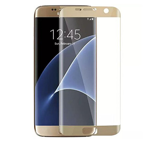 ASLING Galaxy S7 Edge Screen Protector, 3D Tempered Glass Screen Protector with 9H Hardness Full Coverage Ultra HD Clear Anti-Bubble Scratch Proof Military Grade Screen Cover (Gold)