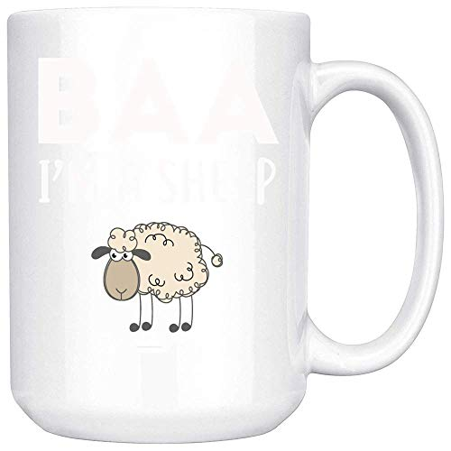 Coffee Mug Baa I'm A Sheep Coffee Mug Lazy Halloween Easy Costume Coffee Mug Ceramic (White, 15 OZ)]()