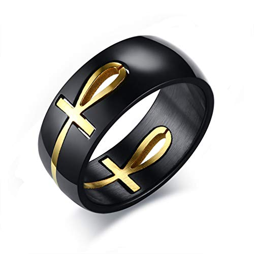 Faithre Men's Two Tone Cut Out Ankh Egyptian Cross Ring for Men Stainless Steel Gold Black Can Split 10