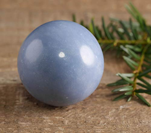 ThrowinStones Blue ANGELITE Sphere with Stand - One Genuine Natural Medium Blue Angelite Crystal Ball, Crystal Ball, Reiki Crystals and Healing Stones E0229-M
