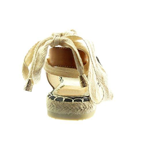Zapatillas Alpargatas Mujer Encaje Ancho Moda Negro Nodo Cuerda 2 Angkorly Sandalias Talón Cm Abierto Tacón EqxfdW8