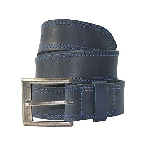 - Men's Two Row Stitch Leather Belt Handmade by Hide & Drink :: Slate Blue (Size 36)