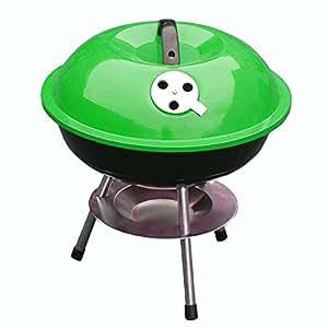 Acero 14pulgadas barbacoa portátil con tapa y soporte, verde