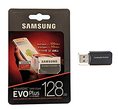 Samsung Galaxy S9 Memory Card 128GB Micro SDXC EVO Plus Class 10 UHS-1 S9 Plus, S9+, Cell Phone Smartphone with Everything But Stromboli (TM) Card Reader (MB-MC128)