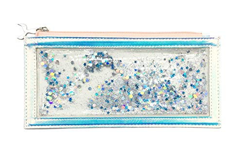 Bewaltz Floating Glitter Holographic Pencil Pouch, Zippered Pencil Pouch, Pencil Pen Case Student Office College Middle School High School, Pencil Bags with Mermaid Tail Zipper, Holographic