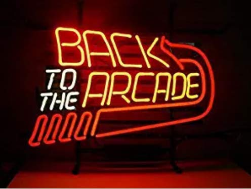 Back to The Arcade Beer Bar Pub Gameroom Store Room Wall Windows Display Neon Signs 19x15
