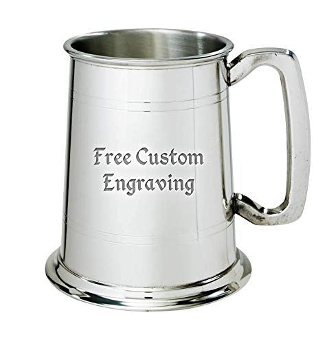 Custom Engraved Pewter Tankard with Decorative Line