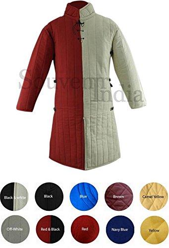 Gambesón medieval de grosor acolchado abrigo largo aketon chaqueta Armor disfraz rojo y blanco algodón tejidos