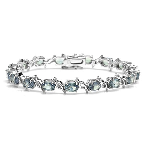 Silvershake Simulated Color Change Alexandrite White Gold Plated 925 Sterling Silver Tennis Bracelet 7.5 Inches ()