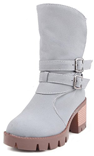 Summerwhisper Women's Trendy Buckled Straps Round Toe Stacked Block Medium Heel Platform Short Boots Gray 9 B(M) US
