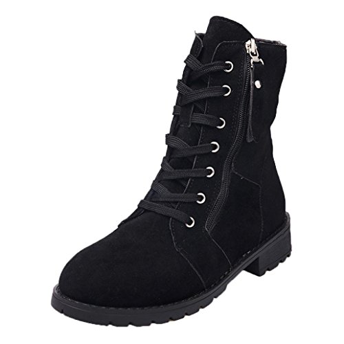 SUKEQ Women Suede Soft Leather Ankle Boots Zipper Lace Up Mid-calf Short Plush Boots Shoes (6 B(M) US, - Womens Soft Figure Boot