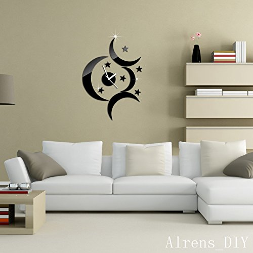 Alrens_DIY(TM)Black 4 Moons Stars Art Mordern Luxury Design Acrylic Non-ticking Quiet Quartz Wall Clock DIY Removable 3D Crystal Mirror Wall Clock Wall Sticker Home Decor Art Living Room Bedroom Office Decoration by Alrens (Image #2)