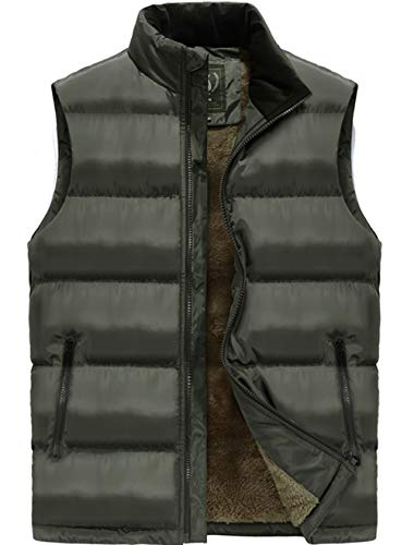 (XinDao Men's Porter Sherpa Lined Cashmere Warm Vest Army Green US S/Asia 2XL)