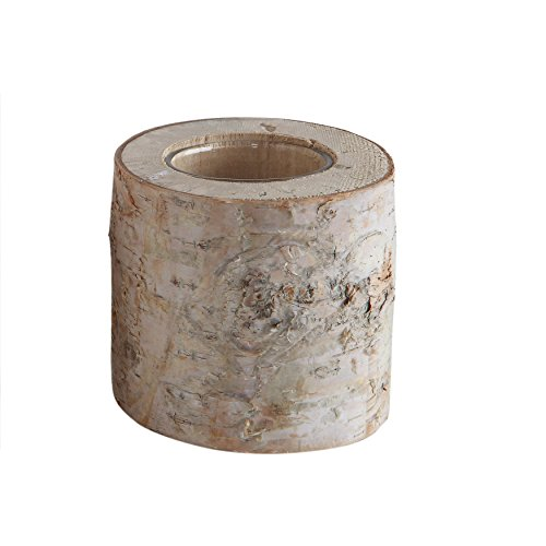 Creative Co-op Birch Wood Log Tealight Holder with Glass Insert (Each one Will Vary) ()