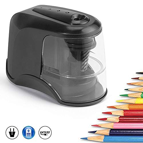 Electric Pencil Sharpener,Auto and Safety Heavy-duty Helical Blade Pencil Sharpener for Artist,Student,Use at Classroom/Office/Home,USB or Battery Powered Operated for No.2/Colored Pencils(6-8mm)