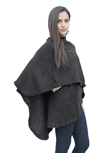 Authentic 100% Baby Alpaca Wool Knitted Ruana Cape Ruffle Trim Wrap One Size (Charcoal Gray)