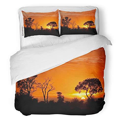 Emvency Decor Duvet Cover Set Full/Queen Size Orange Safari Kruger National Park Sunset Africa Landscape South Animal Black 3 Piece Brushed Microfiber Fabric Print Bedding Set Cover -