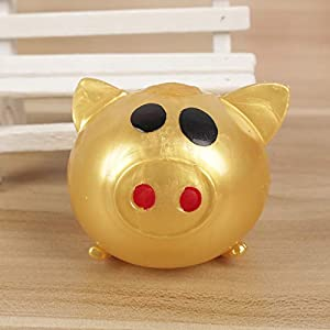 KAKAT 2020 Simple Splat Ball Gold Pig, Anti-stress Decompression Autism Relief Smiley Pigs Kid Toy Whole Venting Fruit…