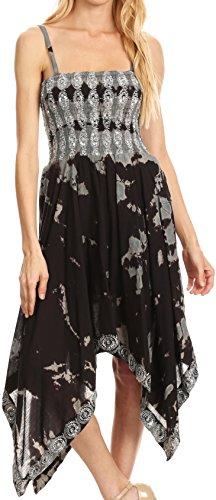 Buy black and grey tie dye dress - 5