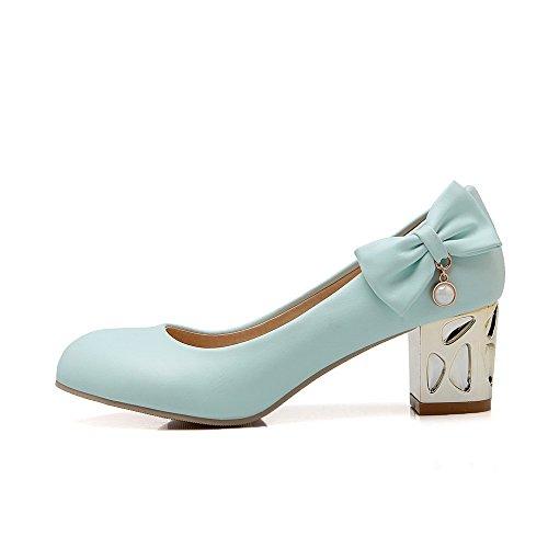 AllhqFashion Damen Blend-Materialien Rund Zehe Mittler Absatz Ziehen auf Rein Pumps Schuhe Blau