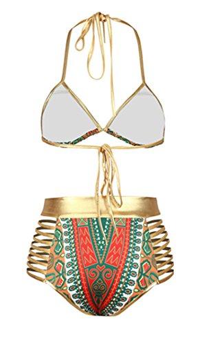 YOGLY Damen Bikinis Neckholder High Waist Retro Brazilian Push up Bandage Design Super mit Polster Oberteil träger Elegant Zweiteiler Bunt Bikini Set Bademode Beachwear Badeanzug Swimwear Swimsuits Rot VxU5PiaNm