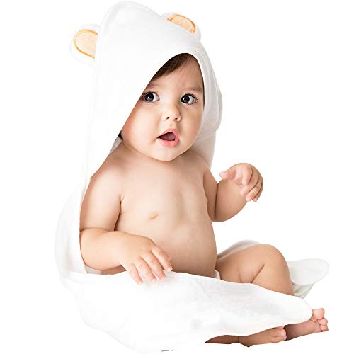 Bamboo Baby Hooded Bath Towel and Washcloth Set by Vesta Baby: Natural and Eco-Friendly, Soft for Sensitive Skin, Hypoallergenic, Antibacterial, 30x30Absorbent Towel for Babies