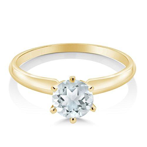 Gem Stone King 14K Yellow Gold Sky Blue Aquamarine Engagement Solitaire Ring 0.75 Gemstone Birthstone (Size 5)