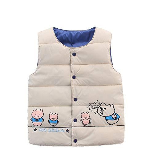 Winter Kid Vest,Fineser Childrens Kids Baby Girls Boy Sleeveless Piglet Print Warm Jacket Waistcoat Windbreaker Tops 24M-6T (Khaki, 4T(120)) for $<!--$3.50-->