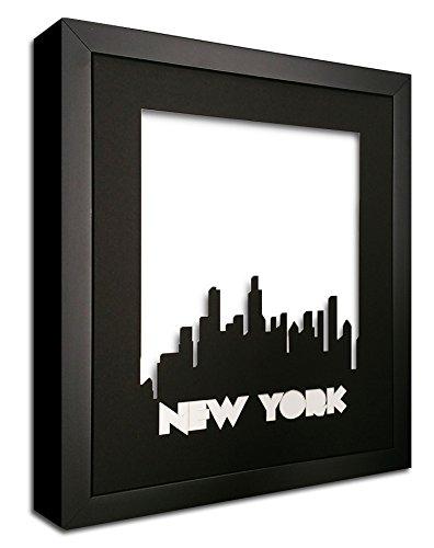 New York Skyline Precision Cut in a Black Photo Mat - in a Black Wood ()