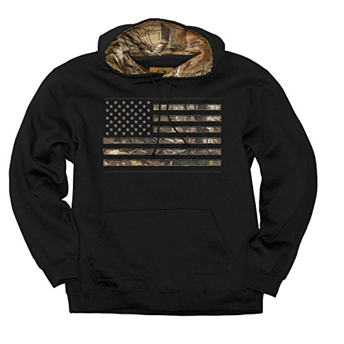 (Buckwear Men's Camo Stars and Stripes Hoodie, Camo Xtra/Black, X-Large )