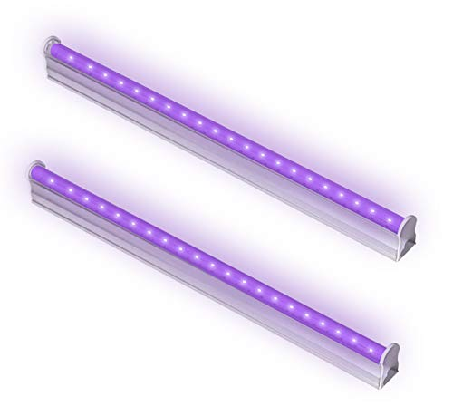 2 Pack Authentication Currency Ultraviolet Curing 6W Portable Black Light Lamp UV Purple LED Fixture for UV Poster UV LED Black Light Fixtures Stain Detector or DJ Party