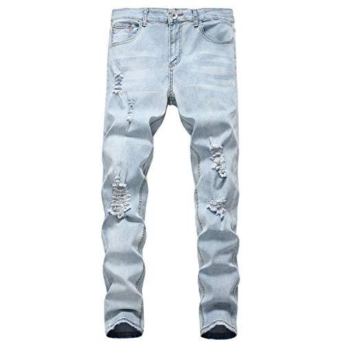 Ezekiel Walking Shorts - MIUCAT Elastic Hole Large Size Trousers,Men's Personality Ripped Slim Fit Zipper Stretch Denim Trousers Jeans