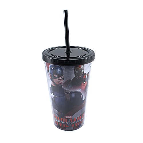 Silver Buffalo CW03087 Marvel Civil War Captain America Forefront Iron Man Background Plastic Cold Cup with Lid and Straw, 16 oz, Multicolor