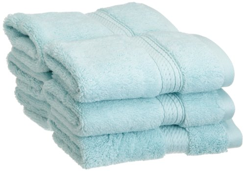Superior 900 GSM Luxury Bathroom Face Towels, Made of 100% Premium Long-Staple Combed Cotton, Set of 6 Hotel & Spa Quality Washcloths - Sea Foam, 13