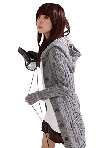 Molly Damen Reine Farbe Lange Ärmel Kapuzen Lange Strick Sweater Grau
