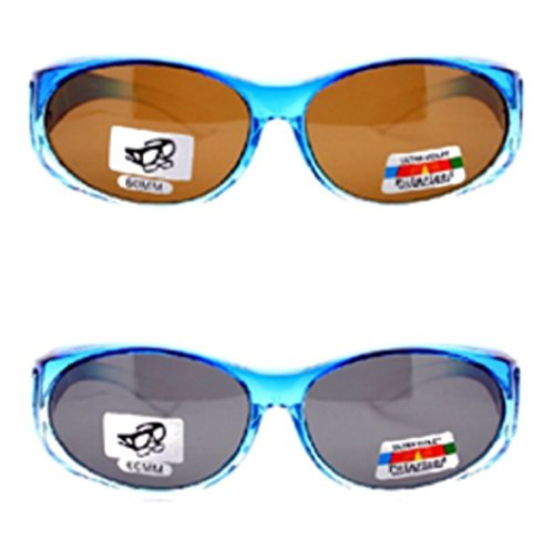 ab343afe21fd Amazon.com  2 Womens Polarized Fit Over Ombre Sunglasses-Blue Black ...