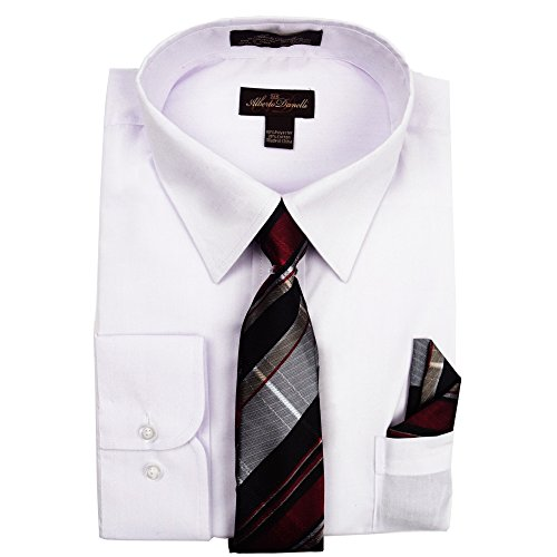 Alberto Danelli Men's Long Sleeve Dress Shirt With Matching Tie and Handkerchie Set White, XXX-Large/19-19.5