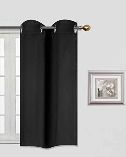 GorgeousHomeLinen (K30) 1 Panel Silver Grommets Window Curtain 3 Layered Thermal Heavy Thick Insulated Blackout Drape Treatment Size 30″ Wide X 36″ Length in Many Solid Colors (BLACK)