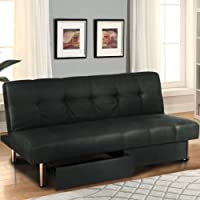 NEW Microfiber Futon Folding Sofa Bed Couch Mattress & Storage Recliner Lounger