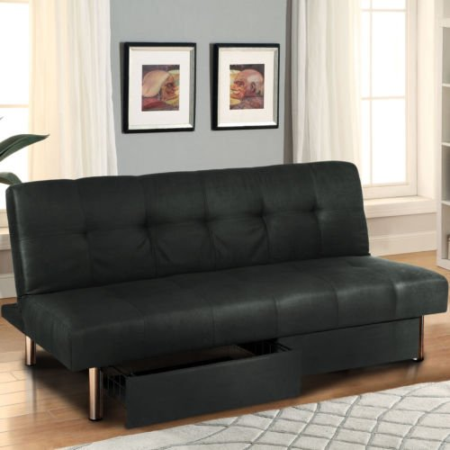 NEW Microfiber Futon Folding Sofa Bed Couch Mattress & Storage Recliner (Log Mirror Frame)