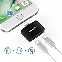 Dual Lightning Adapter for iPhone 7/7 Plus with Mic, 2 in 1 Mini Lightning Adapter AUX Splitter Audio + Charge Sync Data Compatible for iOS 10.3 – Black