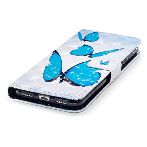 COWX Huawei P8 Lite 2017 Hülle, PU Leder Hülle für Huawei P8 Lite 2017 Tasche schutzhülle Blauer Schmetterling