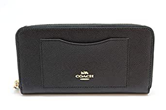 Coach Crossgrain Leather Accordion Zip Wallet F54007 (Black)