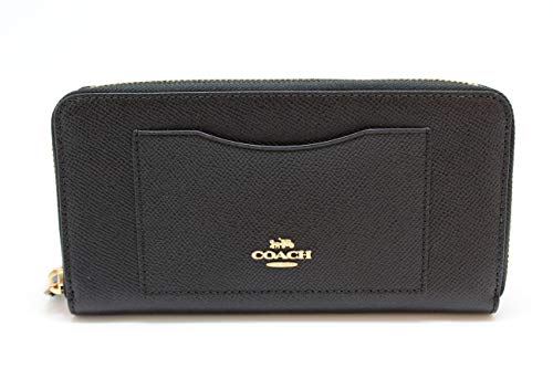 Wallet Purse Accordion (Coach Crossgrain Leather Accordion Zip Wallet F54007 (Black))