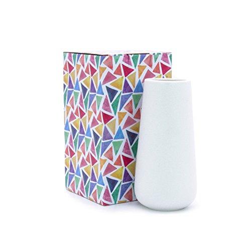 Dvine Dev 8 Inch White Ceramic Vase for Flowers - Home Decor Vase Table Centerpieces Vase - Gift Box Packaged