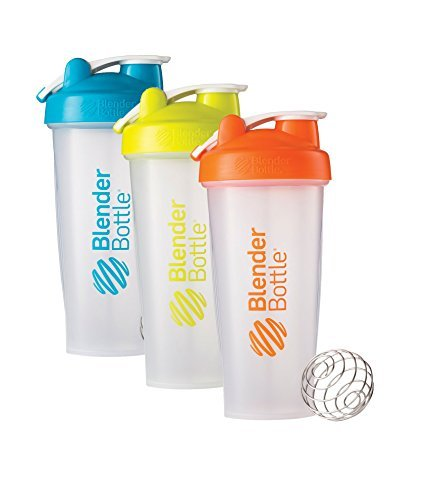 28 Oz. Hook Style Blender Bottle W/ Shaker Bundle-Clear Aqua/Green/Orange