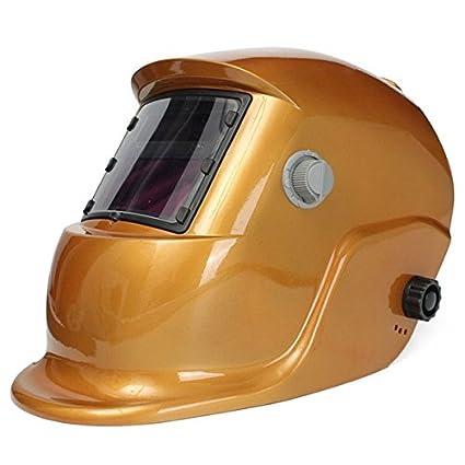MASUNN Golden Solar Auto Oscurecimiento Soldadura Casco Soldador Máscara Casco