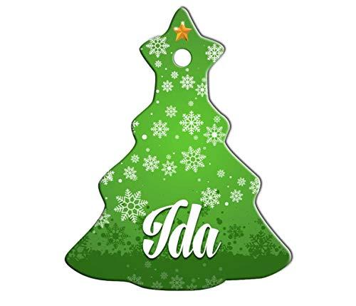 Makoroni - IDA Female Name Christmas Ornament (Chrismas Tree) - Chrismas Tree Holiday Christmas Baby Shower Wedding Ornament -