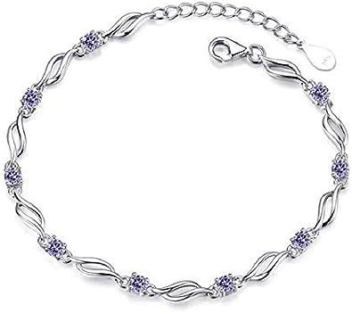 Hilier Bracelet en argent sterling 925 avec cristal pour fille et femme